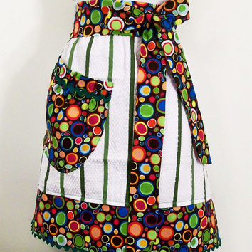 Women's Towel Apron--Green Stripe with Circles Fabric--#58
