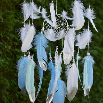 Baby Boy Nursery Mobile, Dream Catcher Mobile, Blue Mint Silver Baby Boy Nursery Decor, Silver Mint Nursery Decor, Baby Boy Nursery Mobile