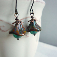 Turquoise and Brown Flowers Earrings - Czech Glass Flowers - Copper - Summer Jewelry