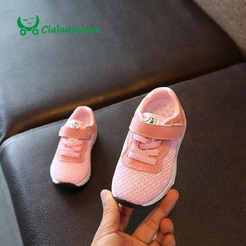Claladoudou 13.3-15.3CM Children Autumn Sneakers Fashion Girls Boy Black Breathable Sport Shoes Toddler Girls Gray Casual Shoes