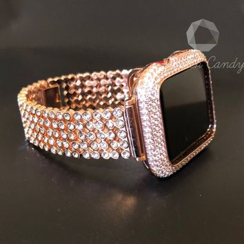 Series 4 Apple Watch Band 40mm 44mm Rose Gold Women Series 1 2 3 4 Rhinestone Crystal/Case Cover Bezel Lab Diamond Iwatch Bling Smart Watch