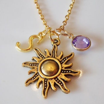 Initial necklace, Sun necklace, Sun charm, Celestial necklace, Personalized necklace, Antique gold necklace, birthstone charm necklace