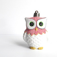 Red and White Owl Ornament: Shatter Resistant Hand Painted plastic Owl Ornament Red and White