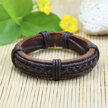 SF203-Free shipping fashion jewelry handmade wrap genuine leather bracelet with Hemp rope for women bracelet men unisex