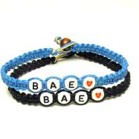 Couples or Friendship Bracelets, Set of Two, BAE, Before Anyone Else, Bright Blue and Black Hemp Jewelry