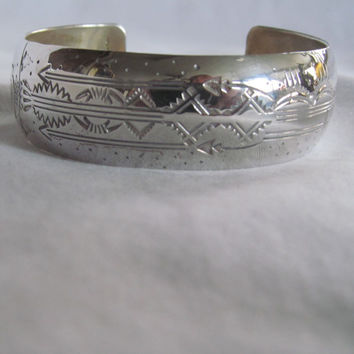 Hallmarked Native Indian Sterling Silver Cuff Bracelet Dan Platero Don Platero  Navaho Sterling Signed Bracelet