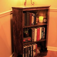Standing Corner Book Shelf Dark Brown Wax by natureinspiredcrafts