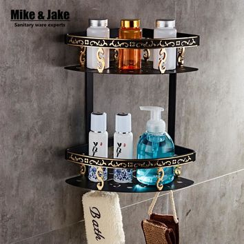 Bathroom shelf black aluminum double layer bathroom corner shelf bathroom holder shower room basket bathroom accessories MH7001