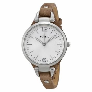 Fossil Womens ES3060 Silver Case Brown Dial Watch