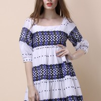 Boho Flowery Embroidered Dolly Dress