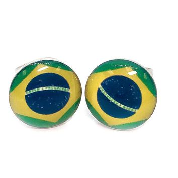 ON SALE - Brazilian Flag Enamel Button Stud Earrings