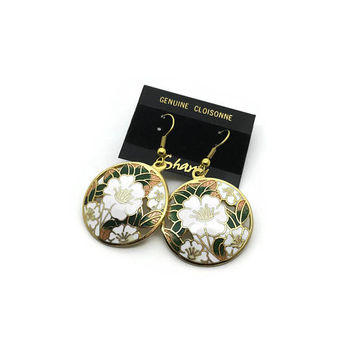 White Flower Cloisonné Earrings | Vintage Earrings | Drop Earrings | Pierced Ears | Deadstock Unused Vintage | Vintage 1980's Earrings