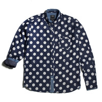 11 After 11 Dot & Skull Print Denim Shirt (Navy)