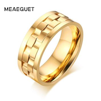 Meaeguet Men's Spinner Ring Rotatable Wedding Band Round Rings Classic Gold-Color 9mm Gent's Party Jewelry
