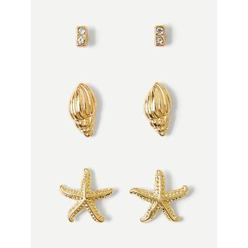 Gold Shell And Starfish Detail Stud Earrings 3pairs