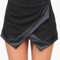 Leather Trim Skort in Black