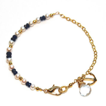 Sapphire Bracelet Freshwater Pearl Anchor Nautical Refuse to Sink Gold Chain Stacking Bracelets FizzCandy Gemstone Jewelry