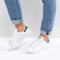 adidas Originals White And Navy Stan Smith Sneakers at asos.com