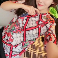 """""""Gucci"""" Personality Multicolor Pattern Print Women Casual Short Sleeve T-shirt Top Tee"""