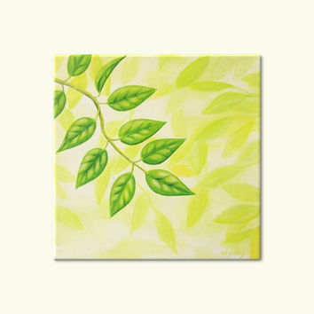"Green Leaves Painting, Original Nature Art, Spring Leaf Painting, Green Home Decor, Yellow Art, Green Nature Art, Original Acrylic 10"" X 10"""