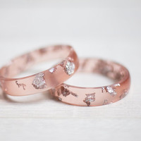 Tan Nude Resin Bangle Bracelet Silver Flakes rose poudré Medium Cuff OOAK dusty pink beige rusteam