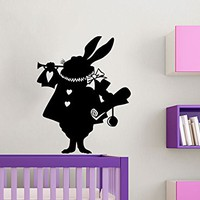 Rabbit Alice In Wonderland Wall Decal Vinyl Sticker Children Decor Wall Stickers Wall Decals For Nursery Wall Decal Kids Bedroom C620