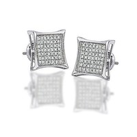 Bling Jewelry Mens Sterling Silver Kite Micro Pave CZ Stud Earrings 9mm