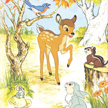 Walt Disney's Bambi Friends of the Forest Little Golden Book Illustrated by Walt Disney Studio Vintage