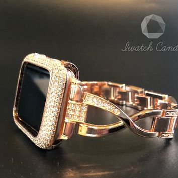 38mm 42mm Apple Iwatch Watch Band Series 1,2,3 Womens Rose Gold Rhinestone Crystal Lab Diamond Case Cover Bezel Iwatch Bling