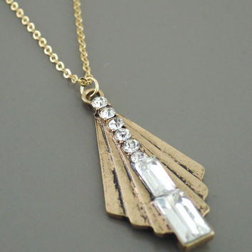 Art Deco Necklace - Vintage inspired Necklace- Crystal Necklace - Brass Necklace - Gold Necklace - handmade jewelry