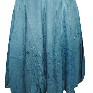 Mogul Interior Women's Lace Panel Short Skirt Blue Embroidered Rayon Boho Hippi Skirts XS