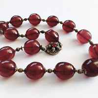"""Vintage 1950's Miriam Haskell 15"""" Large Cranberry Pink Glass Beads with Gold Toned Spacers Necklace with signed Rhinestone Clasp"""