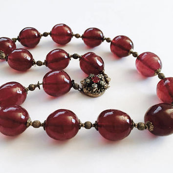 "Vintage 1950's Miriam Haskell 15"" Large Cranberry Pink Glass Beads with Gold Toned Spacers Necklace with signed Rhinestone Clasp"