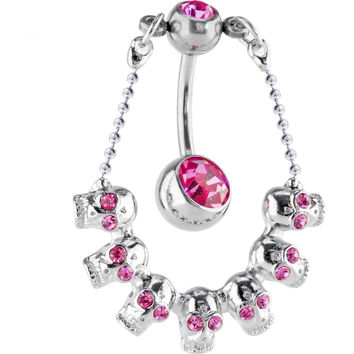 Passion Pink SKULL CHANDELIER Top Dangle Belly Ring