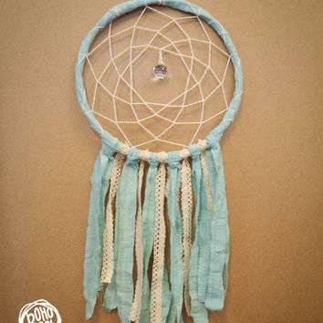 Dream Catcher - With Crystal Prism, Pure Turquoise Textiles and Floral Laces - Boho Home Decor, Nursery Mobile