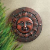 Smiling Sun Ceramic Garden Plaque