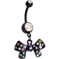 Aurora and Rainbow of Gems Twinkling Black Bow Dangle Belly Ring | Body Candy Body Jewelry