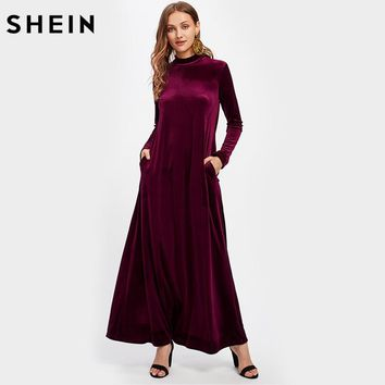 Mock Neck Pocket Side Velvet Dress Burgundy Women Long Dress Autumn Long Sleeve Loose Maxi Dress
