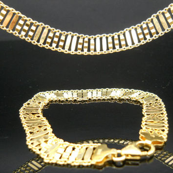 Necklace Bracelet Set Sterling Silver Gold Overlay Flat Thin Wide Chain Bar Link 18 Inch 7.5 Inch Italy 925