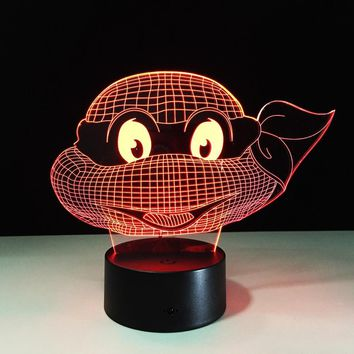 Mutant Ninja Turtles LED Lamp 7 Colors Changing Turtle Night Light Lamps 3D Touch Nightlight  Kids Teenage Gift Drop Shipping