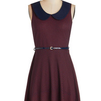 ModCloth Mid-length A-line Work to Play Dress in Red Dots