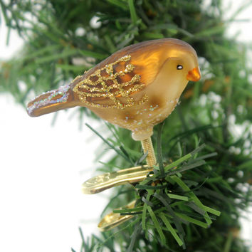 Old World Christmas MINI SONGBIRD Glass Happiness Joy Spring 18042 Meadow Pipit