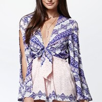Some Days Lovin Outsiders Print Tie Front Romper - Womens Dress - Multi
