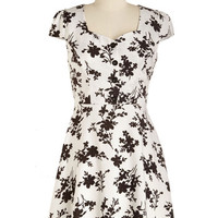 ModCloth Short Length Cap Sleeves A-line Fresh Frost Dress