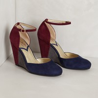 Colorblocked Suede Wedges