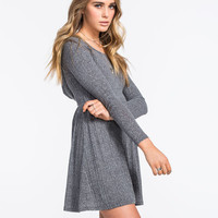 H.I.P. Hooded Babydoll Dress Heather Grey  In Sizes