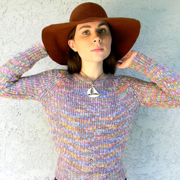 Vintage Chunky Sweater, 80s Spring Winter Fashion, Rainbow Brite Pastel Lavender, Blue, Yellow, and Peach Sweater, small s, Vintage Knitwear