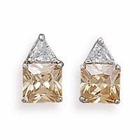 Rhodium Plated Clear and Champagne Cubic Zirconia Post Earrings