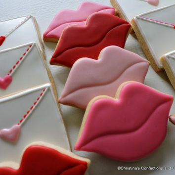 Love letters and lips hand decorated sugar cookies for Valentine's Day (#2409)