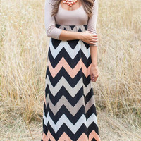 Coffee Long Sleeve Zigzag Print High Waist Maxi Dress